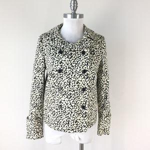 J CREW M 8 Black ivory Animal print Jacket Cropped